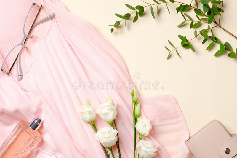 Flat lay feminine accessories, perfume bottle, white roses flowers, pink dress, glasses. Top view beauty blogger desk with female royalty free stock image