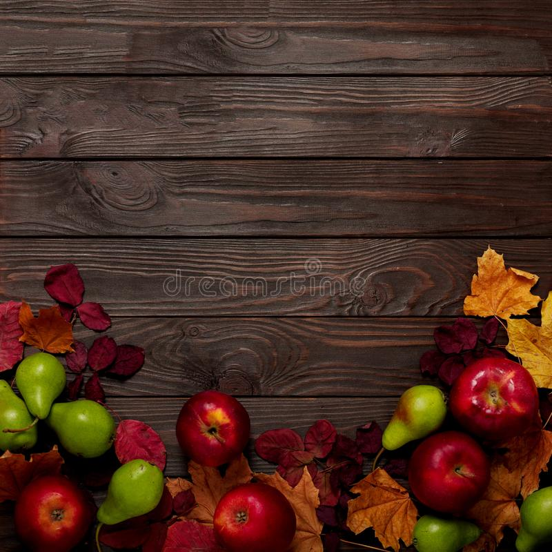 Flat lay frame of autumn crimson and yellow leaves, pears and ap. Ples on a dark wooden background. Selective focus royalty free stock photography