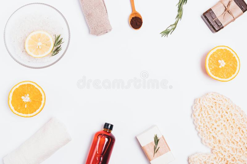 Flat lay frame of natural skincare products stock images