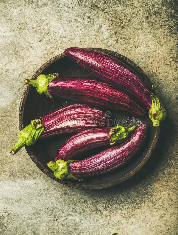 Flat-lay of fresh raw Fall harvest purple eggplants or aubergines royalty free stock photos