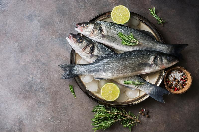 Flat lay fresh raw fish seabass in a plate with ice cubes, rosemary and lime on a dark rustic background. Top view, copy space royalty free stock image