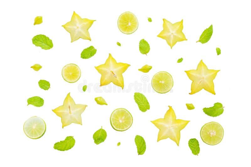 Flat lay of fresh yellow fruits. Flat lay of fresh fruits isolated on white background stock image
