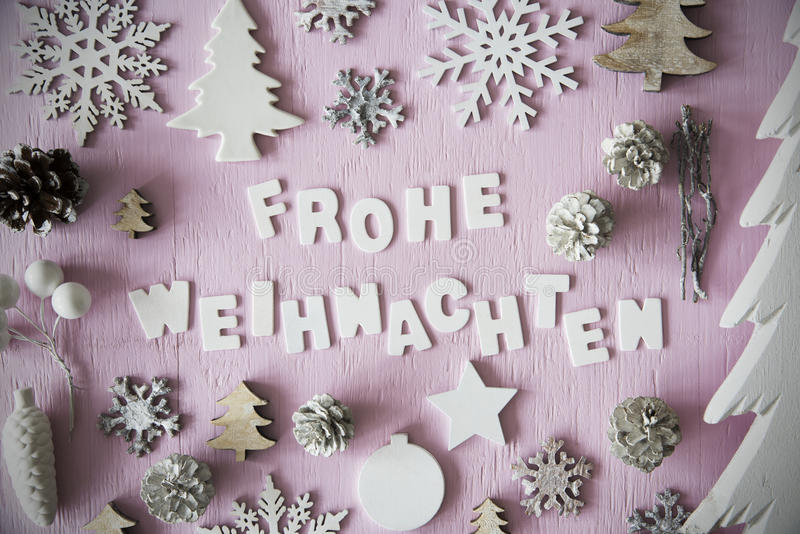 Flat Lay, Frohe Weihnachten Means Merry Christmas, Frame royalty free stock photo