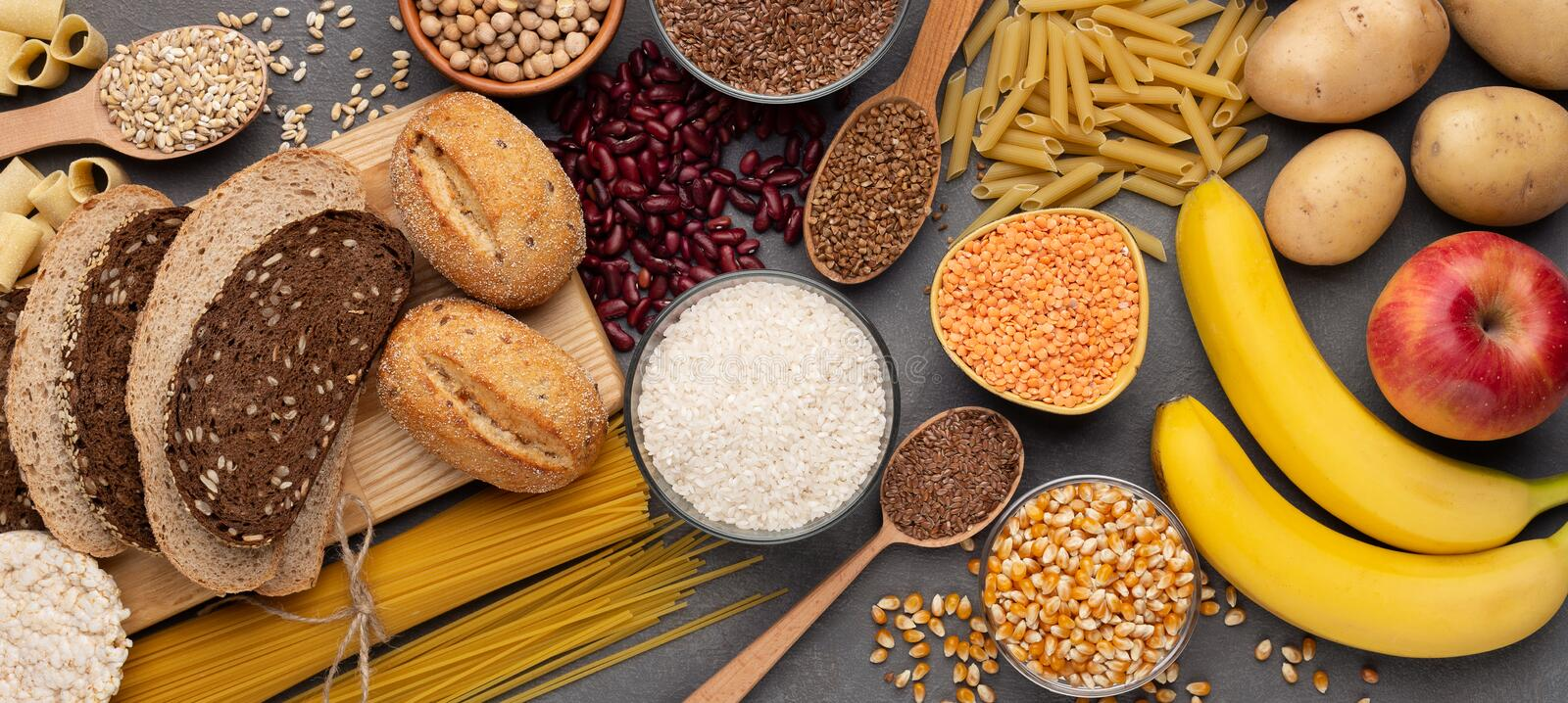 Flat lay of Gluten free products for healthy nutrition on wood. En background, panorama stock photography