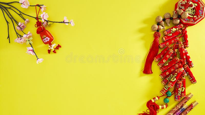 Happy lunar new year 2019. Flat lay. Happy Chinese New Year or lunar new year. 2019 yellow backgrounb style. Chinese characters mean Happy New Year Text space stock image