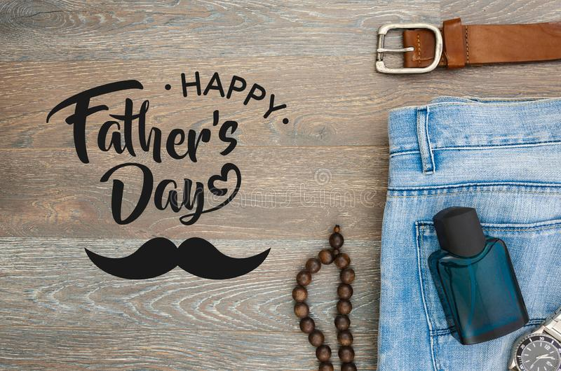 Flat lay happy father`s day concept. Card with sign greeting text.  stock photography