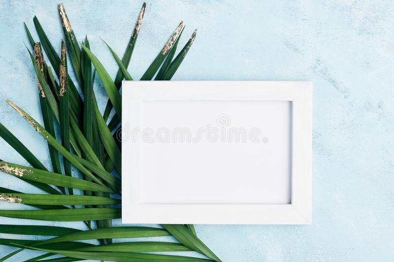 Flat lay horizontal photo frame mock up with green and gold palm leaves on blue background. Travel concept. Text space royalty free stock image