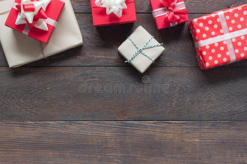 Flat lay of image item Merry Christmas & Happy New Year decor festival. Background concept.free space for creative design.Essential decorations on modern rustic royalty free stock photos