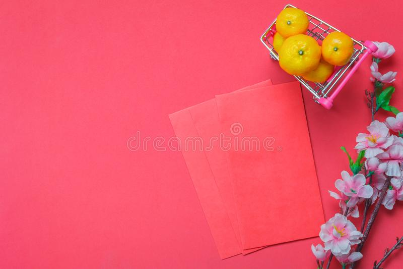 Flat lay image of items decoration & ornaments to Chinese new year background stock images