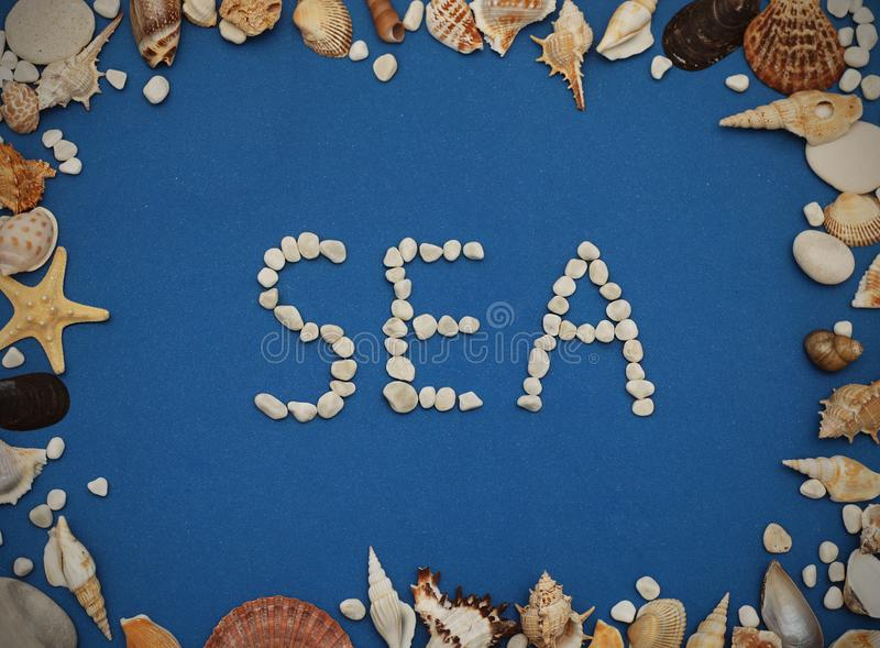 Flat lay. Inscription SEA from Stones, Frame of shells of various kinds on a blue background. Seashells and starfish on a dark blu royalty free stock photography