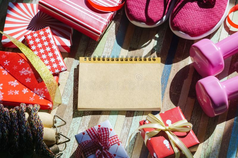 Flat lay of Merry Christmas and Happy new year and any holidy pr stock photography