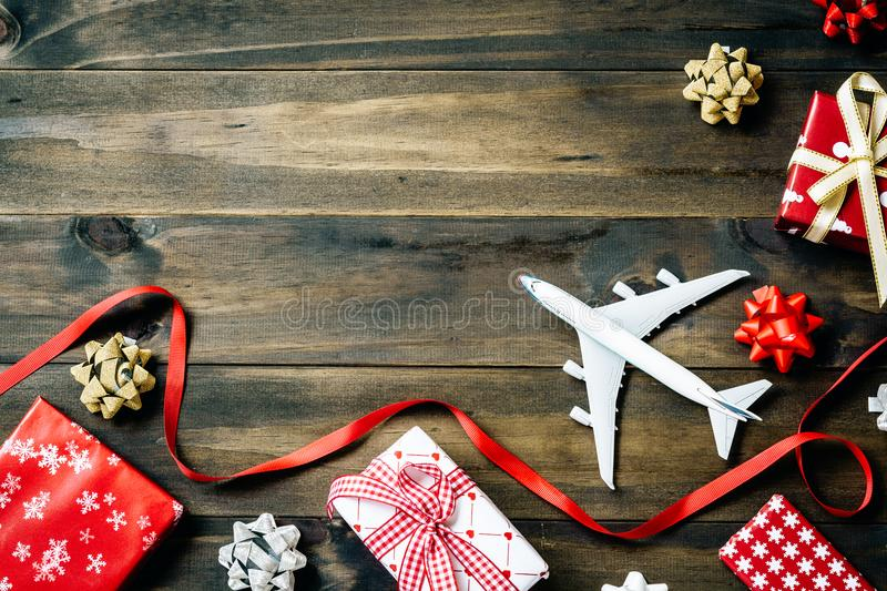 Flat lay of Merry Christmas and Happy new year and any holidy tr. Avel concept. Traveling Christmas and Happy new year greeting card concept background with copy stock photo