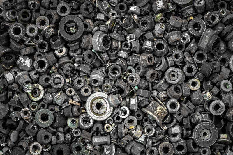 Flat Lay metal fasteners royalty free stock photo