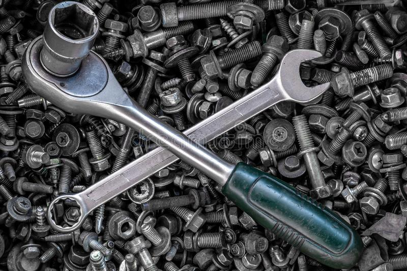 Flat Lay metal wrenches and ratchet stock image