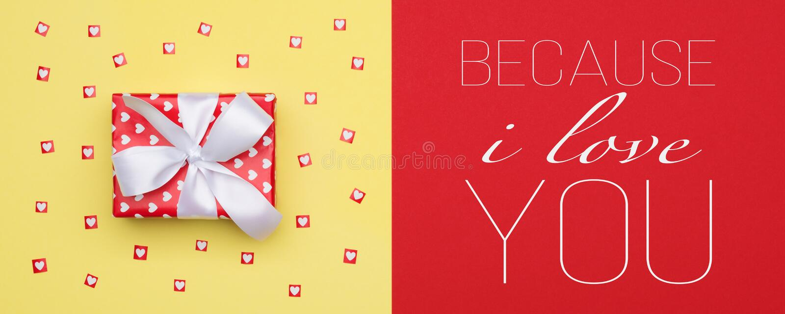 Flat lay minimal web banner concept with beautifully wrapped present. Happy Mother`s day background. vector illustration