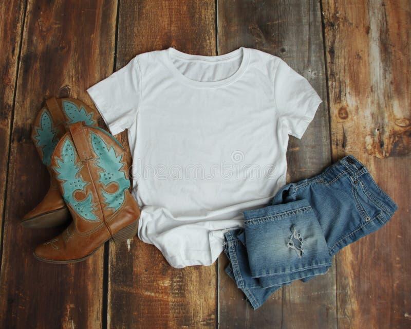 White T Shirt Flat Lay Mockup stock images