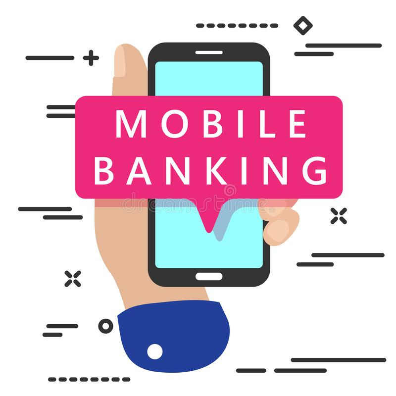 Flat lay modern minimal hand holding mobile phone with mobile banking text mesagge on white background. Online, icon, digital, business, payment, financial vector illustration
