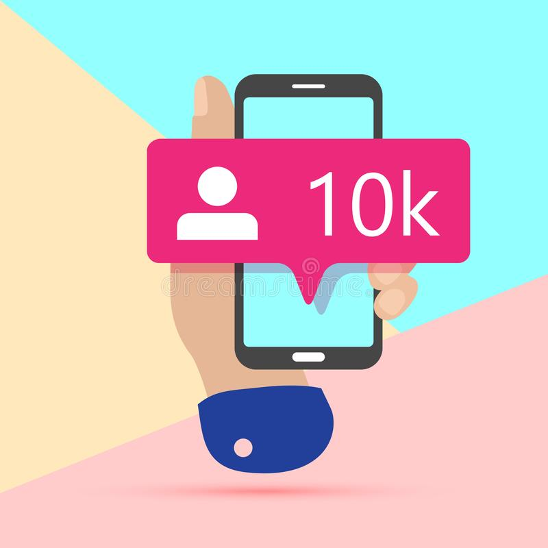 flat lay modern minimal hand holding mobile phone with new pink ten chiliad like followers social media iconon screen with shadow royalty free illustration