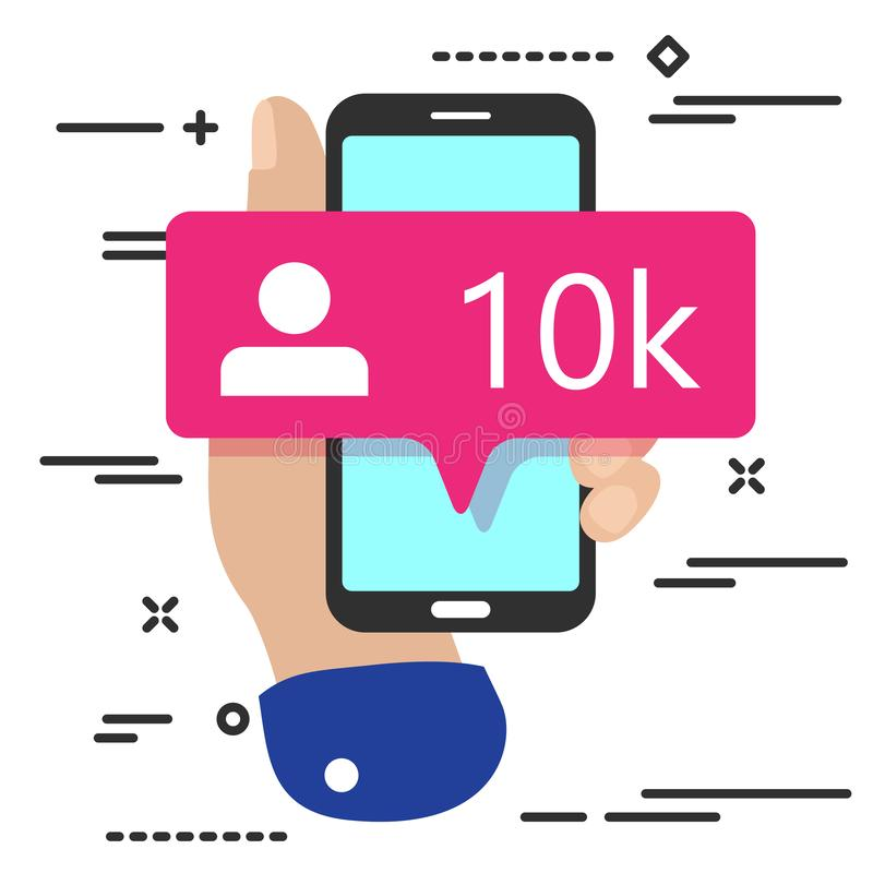 flat lay modern minimal hand holding mobile phone with new pink ten chiliad like followers social media icon  on white background royalty free illustration