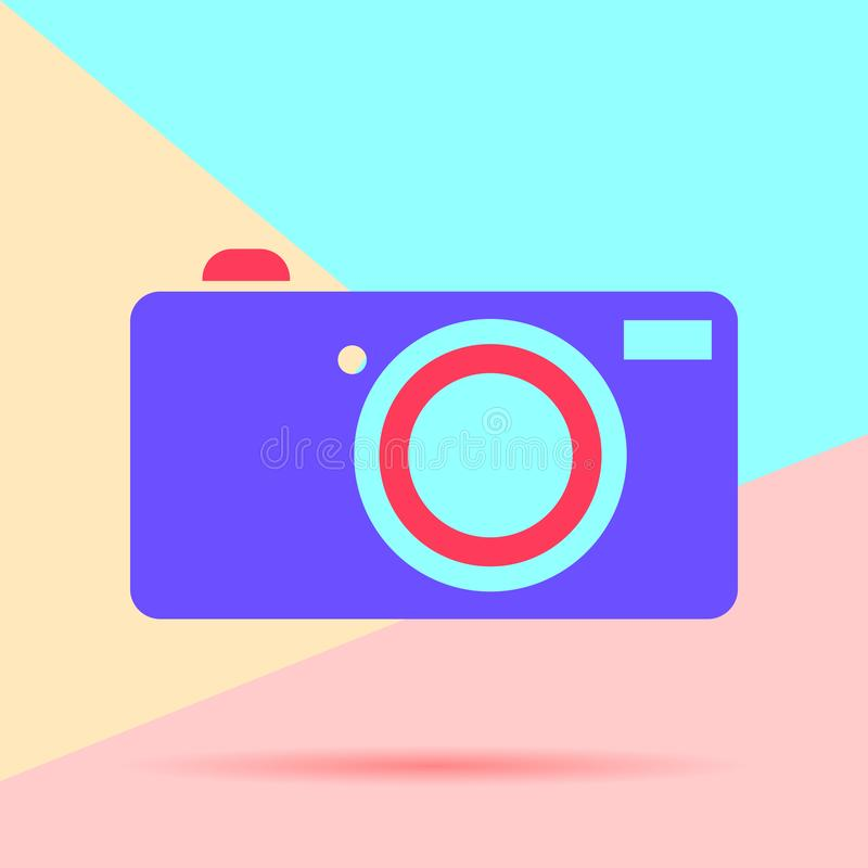 Flat lay modern phone digital camera icon with shadow on pastel colored blue and pink background. Flat lay modern phone digital   with shadow on  colored blue royalty free illustration