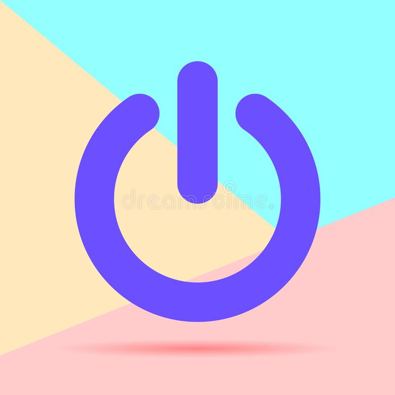 flat lay modern phone power button icon with shadow on pastel colored blue and pink background royalty free illustration