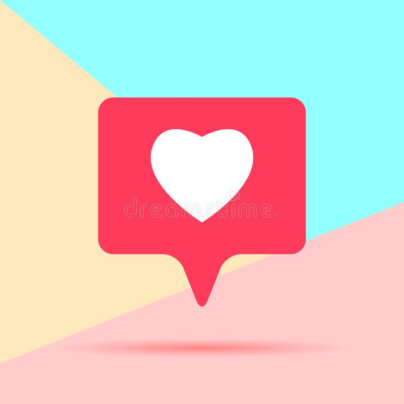 flat lay modern pink heart like social media icon with shadow on pastel colored blue and pink background vector illustration