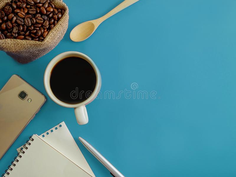 Flat lay office desk with copy space royalty free stock photos