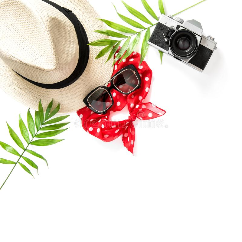 Free Flat Lay Palm Leaves Sunglasses Photo Camera Straw Hat Royalty Free Stock Images - 118607209
