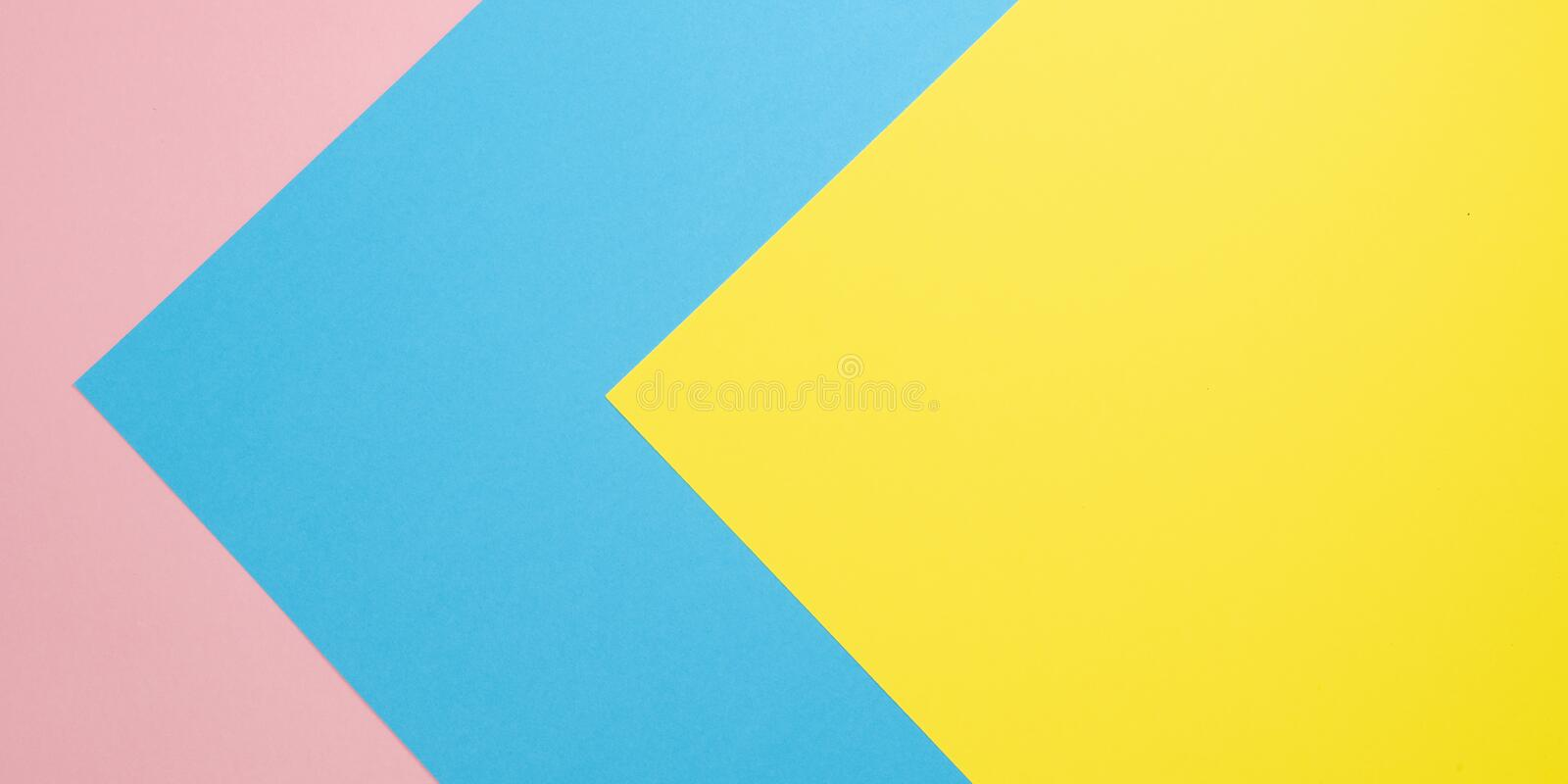 Flat lay pastel paper background. Abstract colorful line. Minimal concept geometric background royalty free stock image