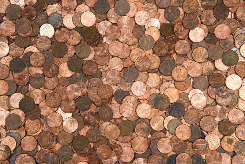 Flat lay pennies stock photos