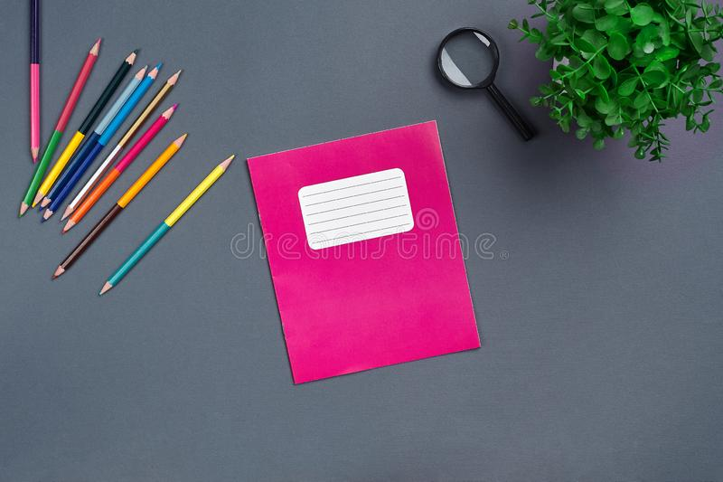 Flat lay photo of workspace desk with school accessories or office supplies. stock image