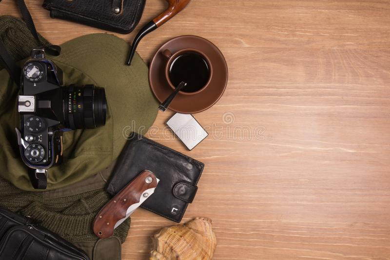 Flat lay photography of Travel concept royalty free stock images