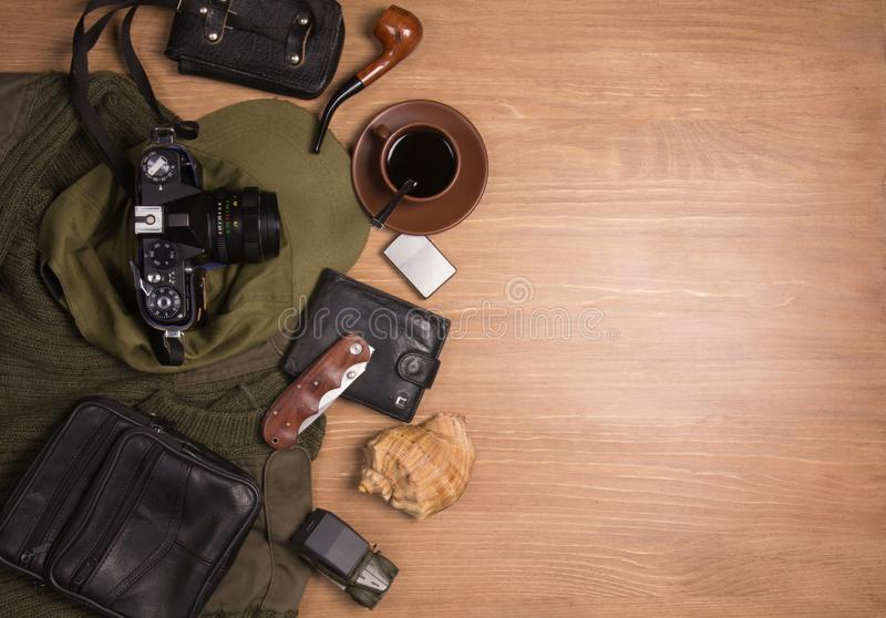 Flat lay photography of Travel concept royalty free stock photos