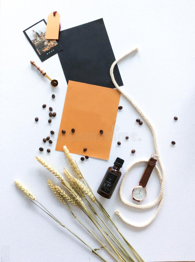 Flat lay photography on white paper royalty free stock photos