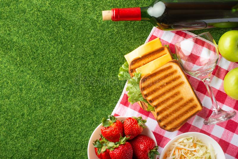 Flat lay. Picnic on the lawn with a veil, red wine with glasses, sandwiches, strawberries, and fresh salad, healthy and tasty food royalty free stock image