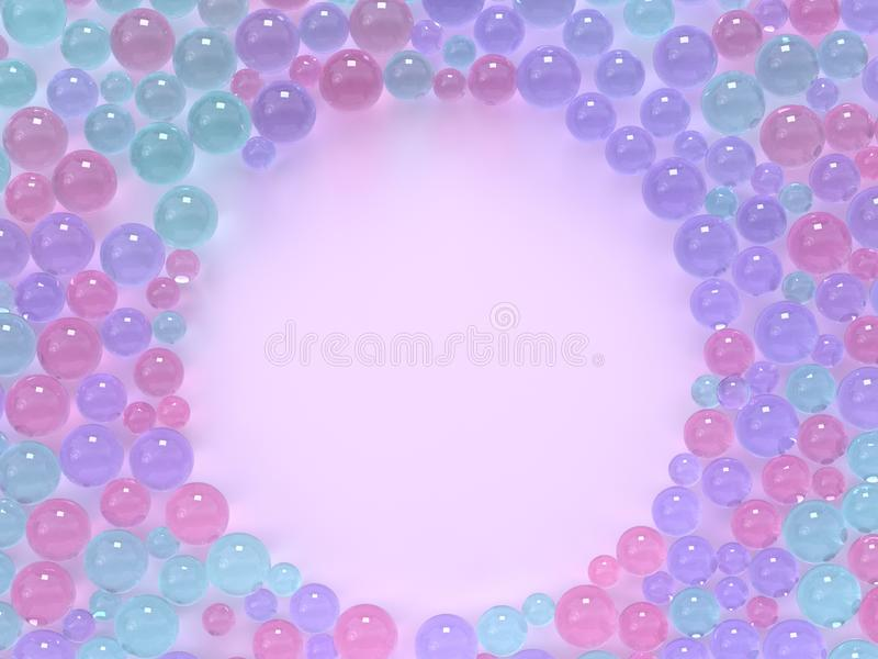 Flat lay pink pastel scene many spheres/ball colorful circle frame copy space 3d render. Ing stock illustration