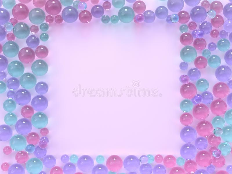 Flat lay pink pastel scene many spheres/ball colorful square frame copy space 3d rendering royalty free illustration