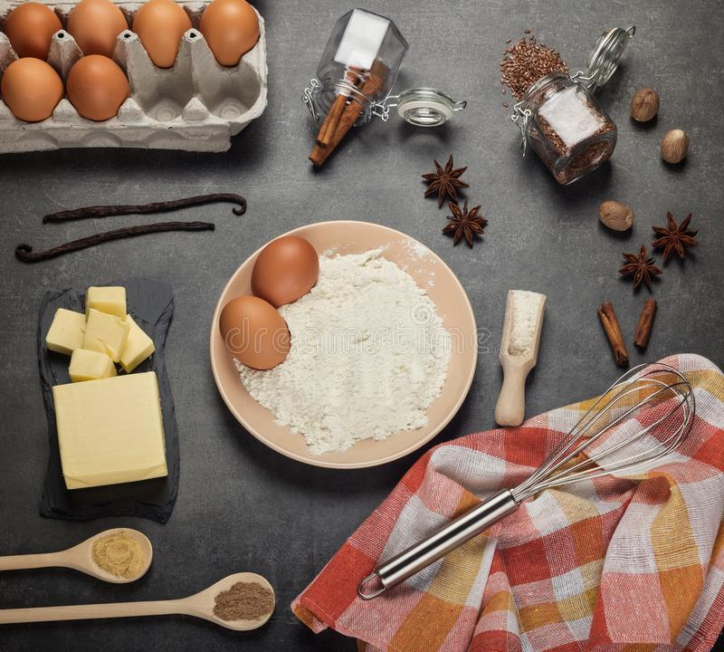 Flat lay. Process of making pie dough by hand. Baking cake in kitchen stock photo