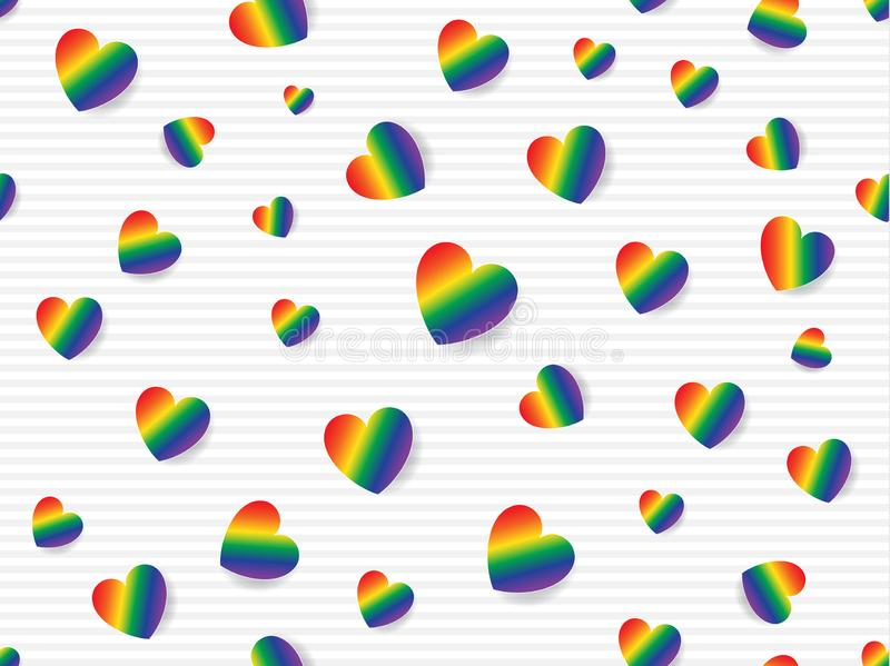 Flat lay of rainbow colored hearts scattered on light grey and white striped background. Seamless pattern vector illustration royalty free illustration