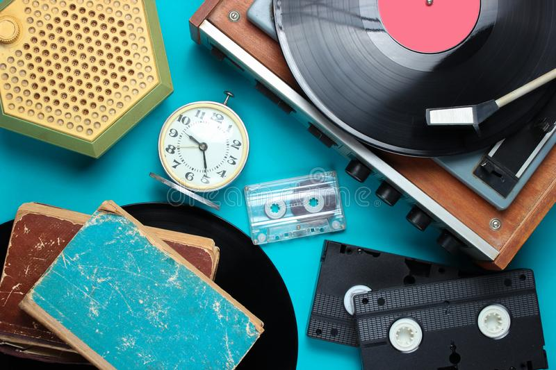 Flat lay retro style attributes, 80s media royalty free stock images