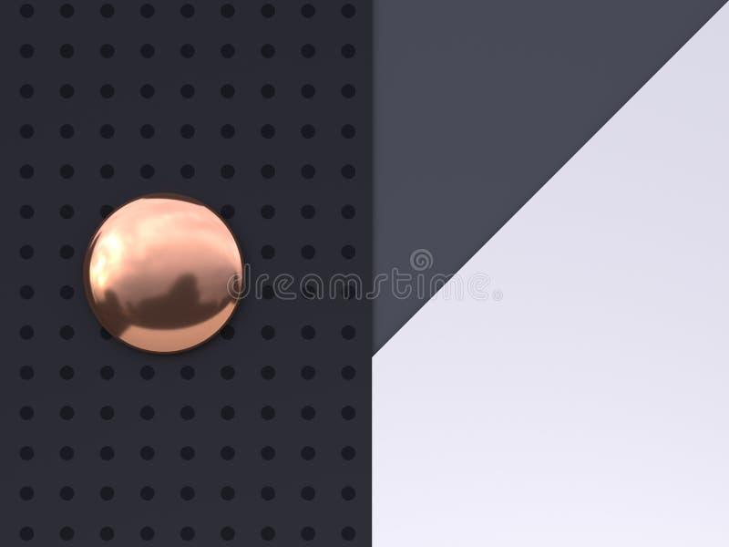 Flat lay scene white grey black pattern floor abstract geometric shape gold/copper metallic 3d render. Ing royalty free illustration