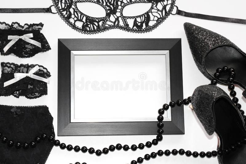 Flat Lay. Sexual wardrobe items. Photo for magazines and postcards royalty free stock images