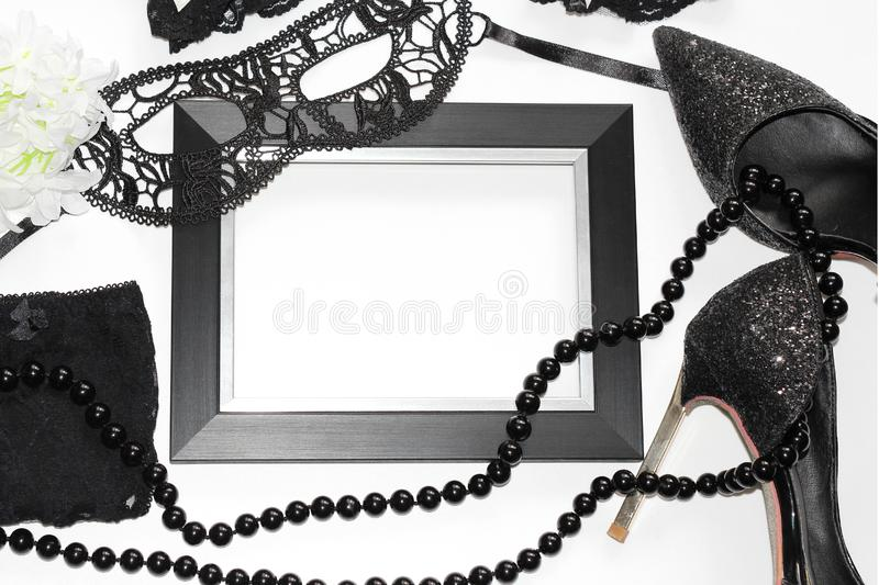 Flat Lay. Sexual wardrobe items. Photo for magazines and postcards stock photo