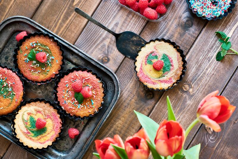 Flat lay with small parrotot cakes decorated with raspberry and blueberry on dark wood royalty free stock photography