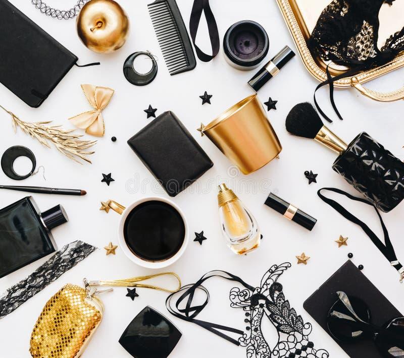 Flat Lay Still life of fashion woman. Feminine elegant and luxury background. royalty free stock image