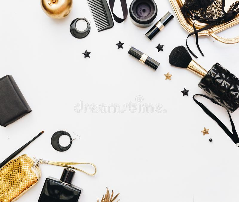 Flat Lay Still life of fashion woman. Feminine elegant and luxury background. royalty free stock photo