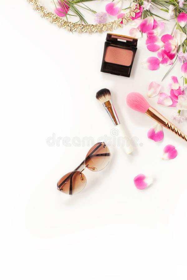 Flat lay still life of fashion woman, objects on white royalty free stock image