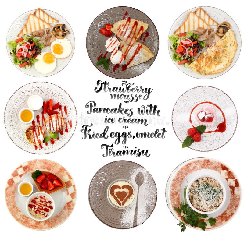 Flat lay style collage of various plates of meals stock images