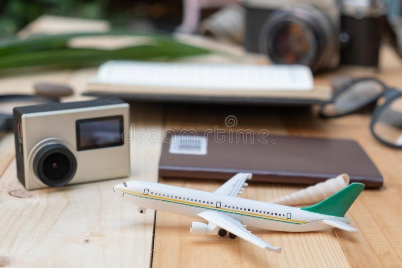 flat lay styles closeup with plane royalty free stock photo