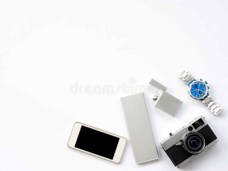 Flat Lay Technology Photo with smart devices props royalty free stock image